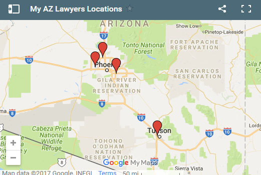 my az personal injury lawyers map locations